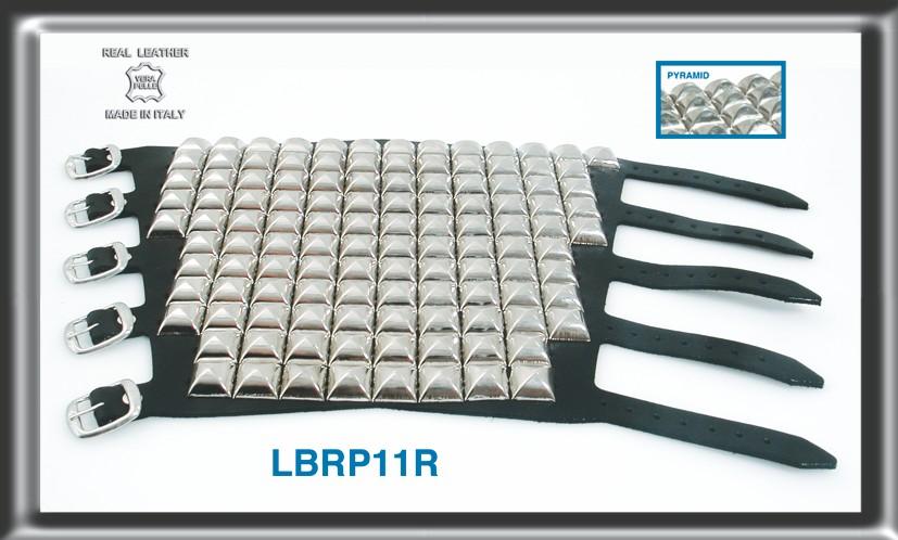 Leather Bracelet 11 rows Pyramid Stud  1