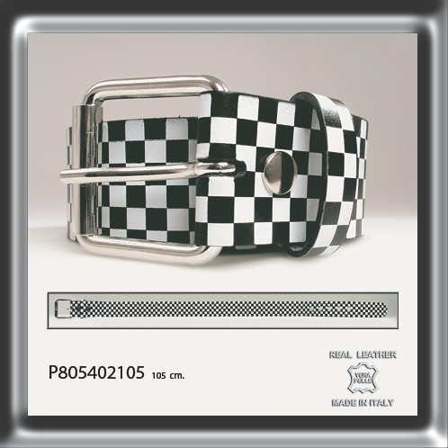 Leather Checkered Printed Belt 105 cm