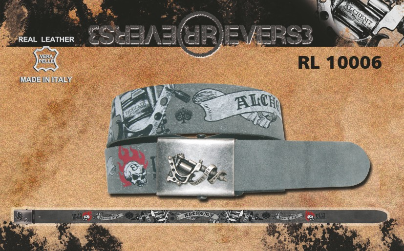 "Reverse Leather Belt Grey - Alchemy UL13 Printed ""Tattoo gun"""