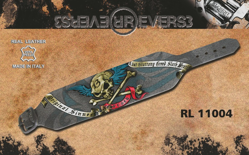 "Reverse Leather Bracelet Grey - Alchemy UL13 Printed ""Cursed"""