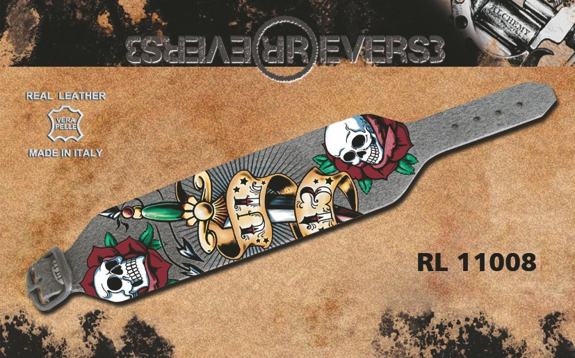"Reverse Leather Bracelet Grey - Alchemy UL13 Printed ""Dagger"""