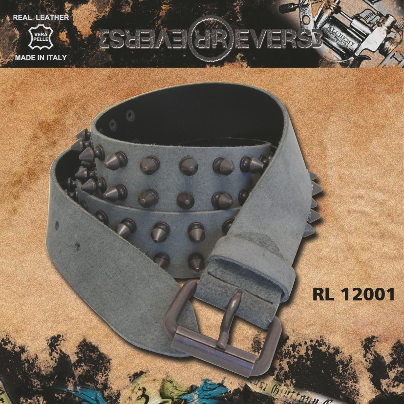 Reverse Leather Belt Grey - 2 rows K Stud Black finishing