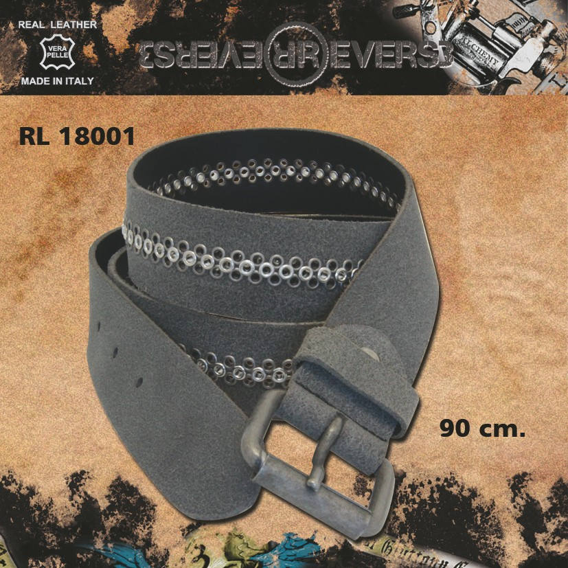 Reverse Leather Belt Rivets Grey Model 1 Stud 90 cm