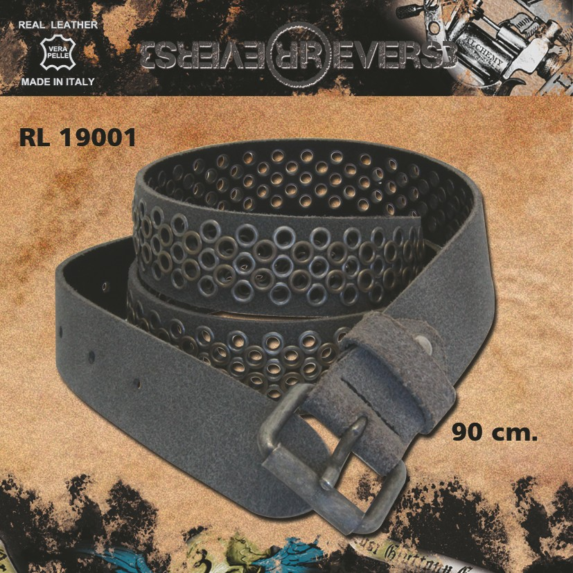 Reverse Leather Belt Rivets Grey Model 2 Stud 90 cm