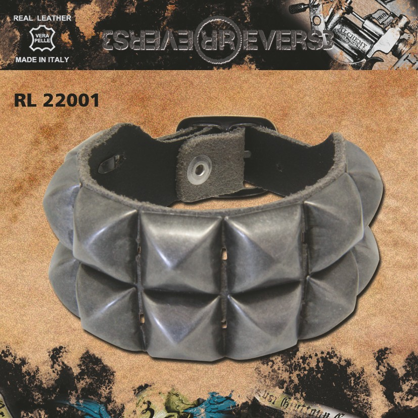 Reverse Leather Belt Rivets Grey Model 2 Stud 100 cm
